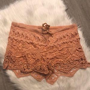 Peach Crochet Boho Layered Shorts